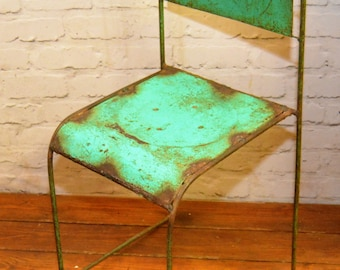 1 available green industrial metal stacking chairs vintage garden kitchen school seating interior design wedding restaurant cafe