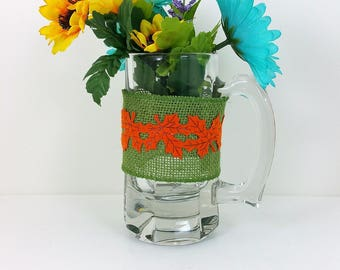 Burlap glass mug yellow and blue flowers with green and orange leaf trim 111