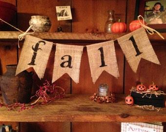 Fall Burlap Bunting, Autumn Garland, Burlap Banner, Autumn Bunting, Fall Bunting