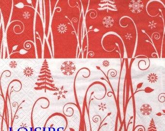 Paper towel Christmas and snowflake 33 cm x 33 cm
