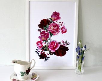 Red Roses Art Print - floral art print- rose print - vintage print - wall art - floral art - flower print - rose decor - new home art -