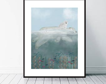 little bears first adventure.arctic animals.nursery wall art.childrens room decor.nature art for home decor.Giclee fine art print with bri.