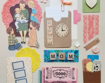 A Prayer for Mom Vintage Ephemera Collection | 25+ pcs | Mixed Media | Collage | Scrap Pack | Inspiration Kit | Paper Crafts | Mother's Day