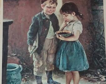 Vintage Two children Little Boy & girl art print by Hugo Oehmichen