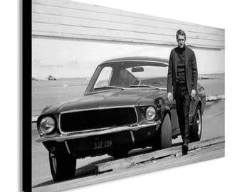 Steve Mcqueen Ford Mustang Bullitt Movie Canvas Wall Art Print - Various Sizes