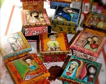 Madonnas - Angels - Frida - Fairy  - Your Choice - Pre-Order -  Original Mixed Media Handmade Jewelry Box Folk Art by FLOR LARIOS