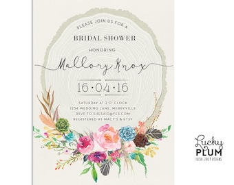 Flower Bridal Shower Invitation / Bridal Shower Invitation / Floral Bridal Shower Invitation / Boho Bridal Shower Invitation / Digital