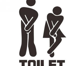 Funny Vinyl Toilet Wall/ Door Sign Wall Art Stickers Decal 045