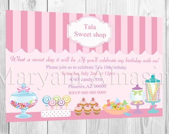 candy shop,candy theme birthday party invitation