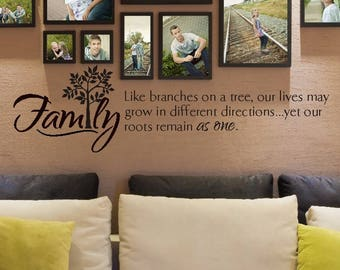FAMILY wall decal, Like branches on a tree, family roots sign, family photo wall, roots remain as one, family tree decal, photo collage