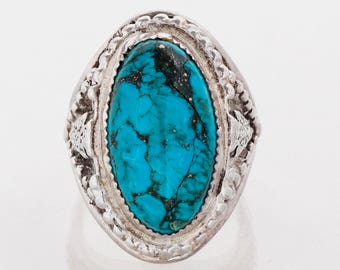 Vintage Ring - Vintage Sterling Silver Native American Statement Turquoise Ring