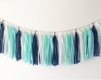 Navy blue, aqua, mint and white tissue paper tassel garland