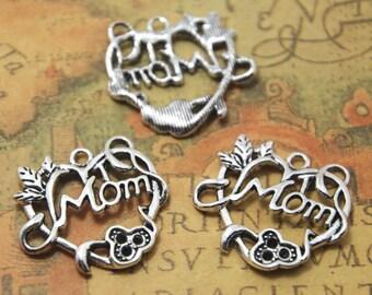 15PCS Mom charms silver tone Mom heart charm Pendants 26x24mm ASD0837