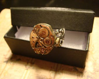 Steampunk Watch Movement Ring with Exposed Gears (2440)
