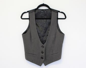 Elegant Striped Vest Brand SARA KELLY  Gray  Ladies fitted vest Button up  Romantic Victorian waistcoat Medium  Size