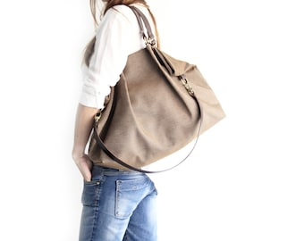 Canvas and leather shoulder bag, made of WATERPROOF technical fabric brown and leather. Susy shoulder bag