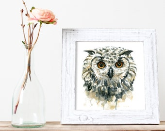 Owl Watercolor Print