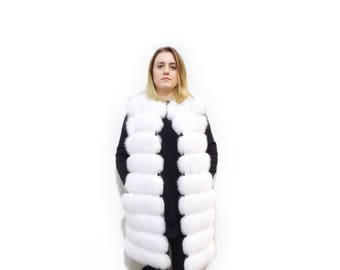 Luxury White Fox Vest with Leather Stripes F511