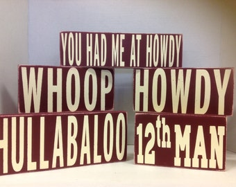 Texas Aggies, Gig Em, Whoop, 12th Man, Howdy, primitive sign, shelf sitters
