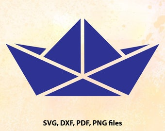 Paper Boat, Origami Boat, SVG, DXF, Pdf and Png Cutting files for Cutting machines, Cricut explore, Silhouette cameo