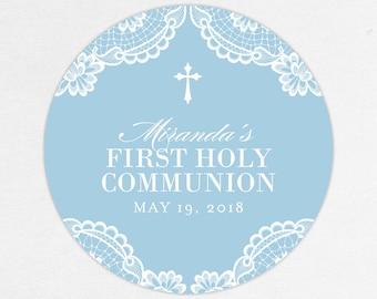 Lace Communion Labels, First Communion Favor Labels, First Communion Stickers, Printed Communion Tag, Girl Communion Labels, Blue, Printed