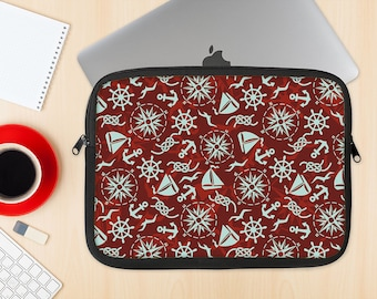 The Red Nautica Collage Dye-Sublimated NeoPrene MacBook Laptop Sleeve Carrying Case