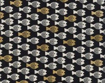 SPECTACLE Unbleached Cotton By Christian Robinson  for Cotton and Steel Fabrics Fish Friends Gold Metallic