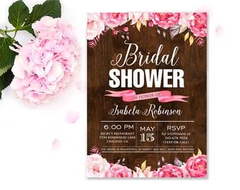 Attractive Rustic Bridal Shower Invitation, Wood Bridal Shower Invite, Floral  Invitation, Rustic Wedding Shower Invitation, Country Wedding