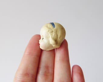 Handmade Doll Brooch Elise - Paperclay Face Pin