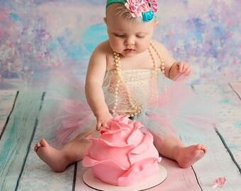 Pink and blue headband, pink and blue princess headband, baby headband, Preemie headband, adult headband, newborn headband, flower girl