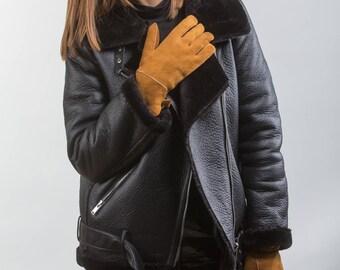 Shearling Brown Fur Gloves. Real Mouton Gloves, Real Fur. Fur Gloves