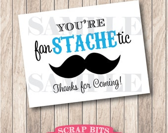 You're Fan-STACHE-tic Mustache Party Sign, Little Man Party Sign (aqua) . Instant Download Printable Mustache Party Sign