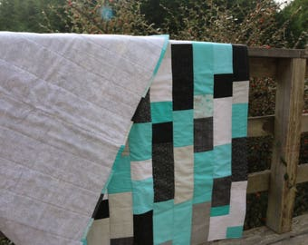 Teal Black Winter Quilt Snowflakes Patchwork Cotton Quilt Turquoise Grey White Brick Throw Quilt Modern Quilt