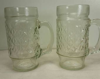 "Pair of Vintage Clear Larger Mugs with Raised ""X"" Pattern in Excellent Condition!"