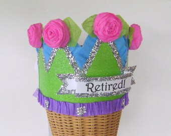 RETIREMENT Party  Crown, Retirement Party Hat, Customize