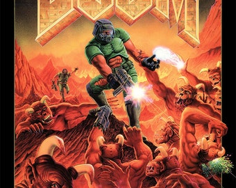 DOOM I and DOOM II Video Game Poster- Multiple Sizes Available