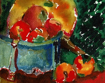 Watercolor, Pot, Oranges and Frying Pan