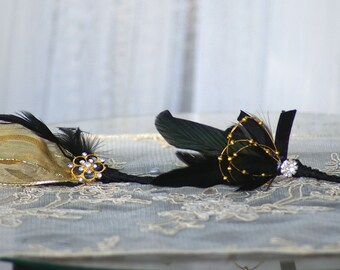 Black and Gold Brooch Feather Boutonniere Alternative