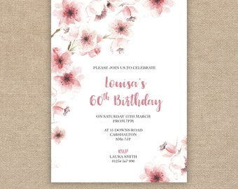 60th Birthday Invitation, Pink Flowers Blossom, Watercolour Floral, 70th, 80th, 90th, 100th Printable Digital file