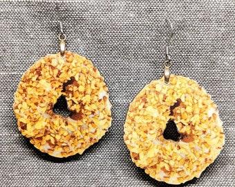 Donut Earrings / Wood Earrings / Food Earrings / Junk Food Jewelry / Kitsch Earrings / Toasted Coconut Earrings / Laser Cut Wood Earrings