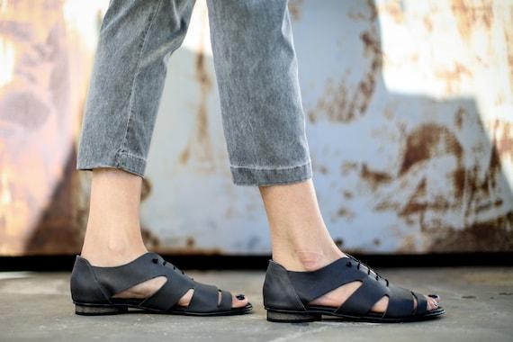 Sandals Sandals Sandals Grey SALE Summer Tie Flats Shoes Sandals Lace Sandals Sandals Summer Strappy Robin Handmade Grey Leather v4vF8