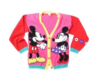 80s Mickey Mouse & Minnie Sweater Cardi 1980s Disney Tiny Fit Cardigan Jacket 1990s Soft Grunge Kawaii 90s Cartoon Red Pink Shirt Top XS