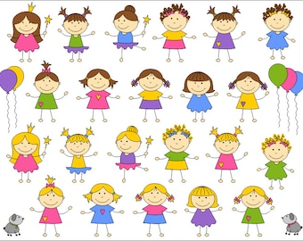 Cute Kids Digital Clip Art, Baby Girl Digital Clip Art, Children Digital Clipart Pack, Instant Download - YDC017