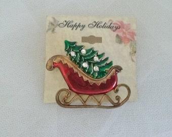 Christmas Sleigh with Rhinestone Tree Brooch Pin // Christmas Brooch // Holiday Brooch