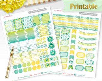 Green flower printable planner stickers summer Erin Condren stickers floral digital functional sticker weekly set spring sale EC vertical