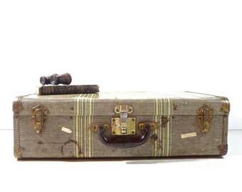 Vintage Metal Suitcase / Striped Suitcase / Vintage Luggage