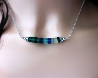 Genuine Roman Glass Necklace With Karen Hill Tribe Fine Silver On Sterling Silver Chain - Gift For Her