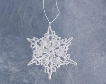 Winter Decoration, Crochet Snowflake, Sparkly Snowflake Ornament, Festive Tree Decoration, Winter Wedding Decor, White Christmas