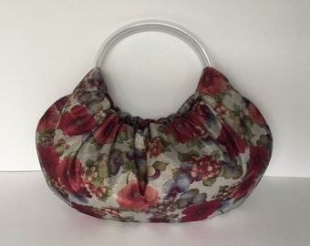 Pansy Metallic Hobo Purse - Handmade Handbag Vintage Remnant with Clear Vinyl Tubing Handles