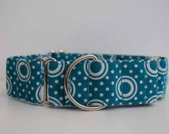 Martingale Dog Collar Teal Back to the 70's - Size M-XL- Adjustable - 1.5 inch width